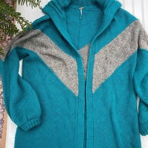 Free People Cardigan Sweater Blue Open Front L